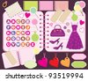 Scrapbook elements with letters and clothes.  vector, no gradient, color full - stock