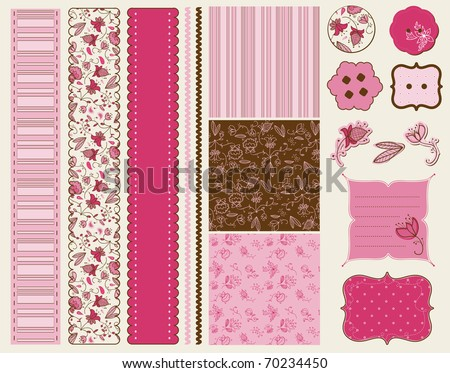 Scrapbook Flower Set - stock vector