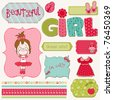 Scrapbook Girl Set - design elements - stock photo