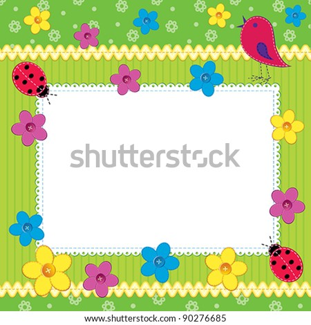 Scrapbook photo frame or card with cute flowers and butterfly - stock vector