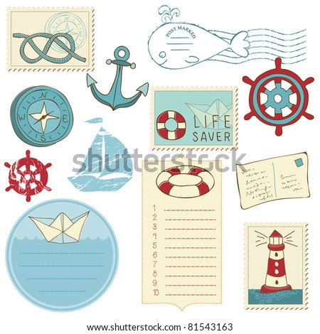 Scrapbook Sea elements - stock vector