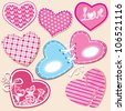 Scrapbook set of hearts in stitched textile style - stock vector