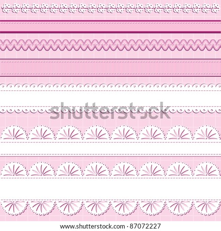 Scrapbook set: ribbons and lace on pink background - stock vector