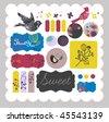 scrapbook sticker set - stock vector