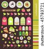 scrapbook stickers and labels set - stock vector