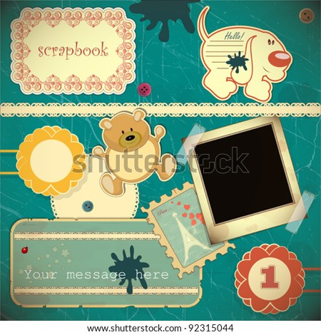 Scrapbook vintage design elements - vector illustration - stock vector