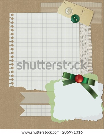 scrapbooking christmas design. vector greeting card with ribbon
