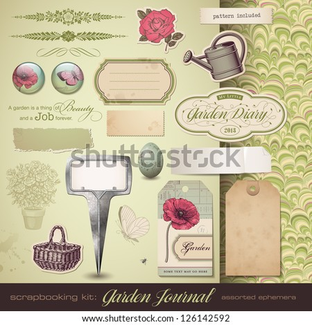 scrapbooking kit: Gardening - assorted ephemera - stock vector