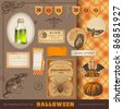 scrapbooking kit: Halloween - lots of vintage ephemera and cute design elements for your projects - stock vector