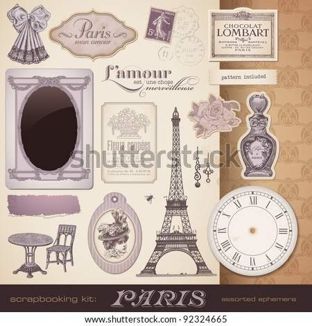 scrapbooking kit: Paris - romantic vintage design elements and ephemera, also perfect for Valentine's day - stock vector