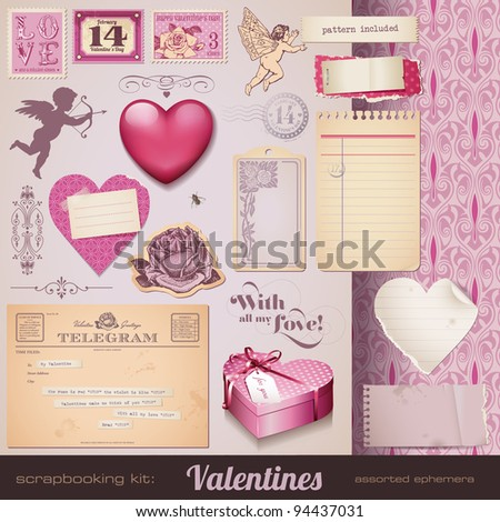 scrapbooking kit: Valentines - romantic ephemera and design elements for your layouts - stock vector
