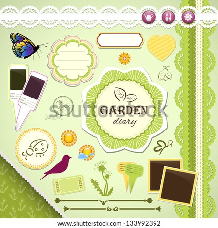 Scrapbooking Set: My Garden Diary - frames, ribbons, dividers, notes and decorations - stock vector
