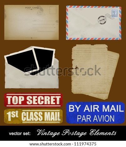 Scrapbooking set of old postage design elements - postcard, photos, stamp, envelope and papers, vector illustration