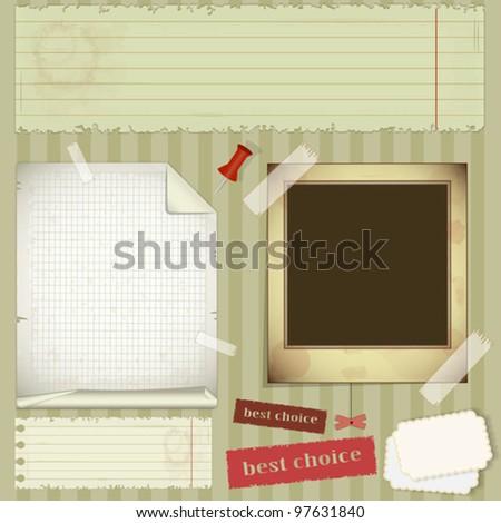 scrapbooking set - old paper, photo frame - vector illustration - stock vector
