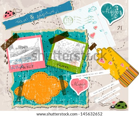 scrapbooking set with stamps and photo frames. vector illustration EPS10 - stock vector