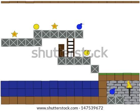 Scratch of arcade computer game level design - stock vector