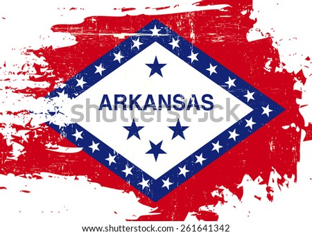 Scratched Arkansas Flag. A flag of Arkansas with a grunge texture - stock vector