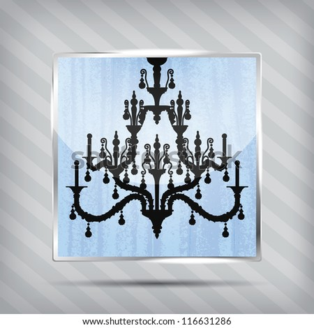 scratched blue icon with silhouette of chandelier on the striped background - stock vector