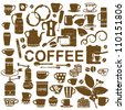 Scratched coffee related silhouettes - stock vector