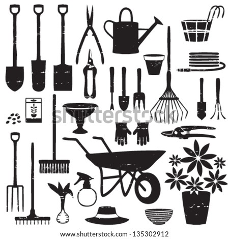 Scratched gardening related silhouettes - stock vector