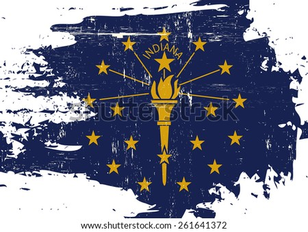 Scratched Indiana Flag. A flag of Indiana with a grunge texture - stock vector