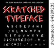 Scratched on tree style typeface handwritten grunge font. Design element. - stock vector
