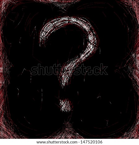 Scratched red ans white grunge question mark on the dark background