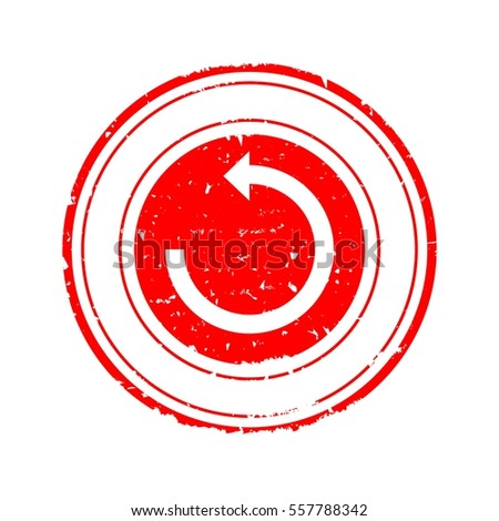 Scratched red round stamp with arrows in a circle - vector