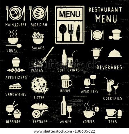 Scratched restaurant menu elements on blackboard - stock vector