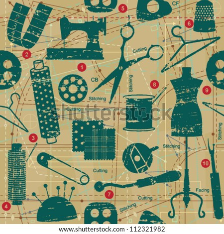 Scratched retro sewing and tailoring seamless pattern	 - stock vector