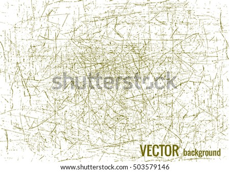 Scratched texture with green lines, vector