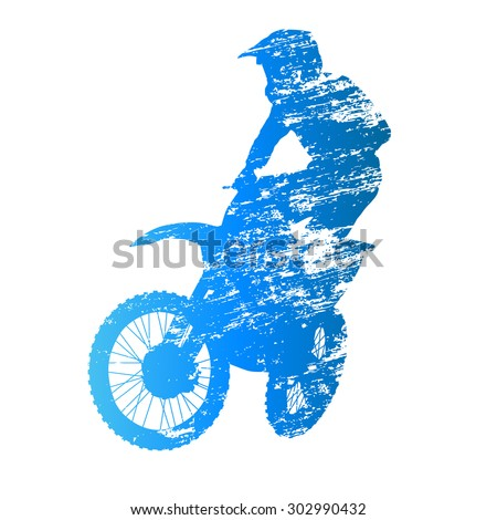 Scratched vector silhouette jumpiing motocross rider - stock vector