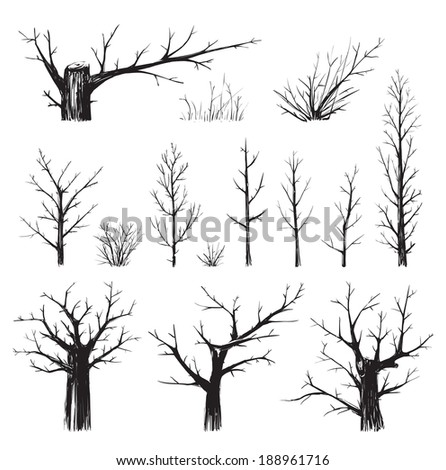 Scratchy Trees Collection in Black Silhouettes. Sketchy set of freehand trees drawing. Vector EPS8 illustration. - stock vector