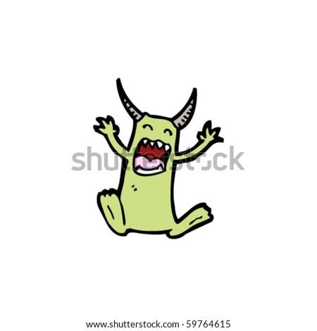 screaming little devil cartoon - stock vector