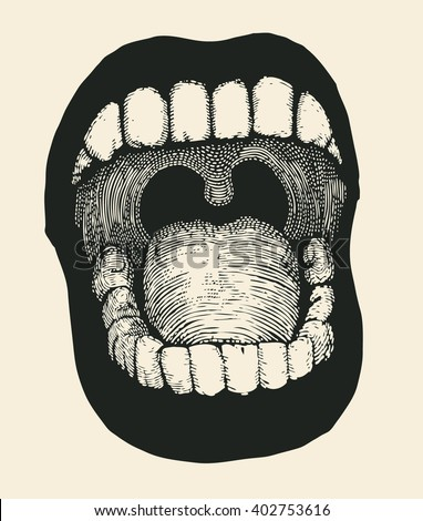 screaming mouth. vector illustration. - stock vector