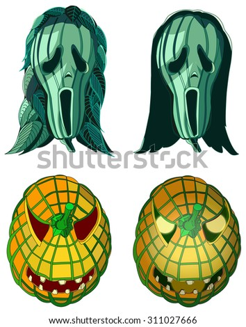 Screaming pumpkins, Halloween vector illustration, isolated on white - stock vector