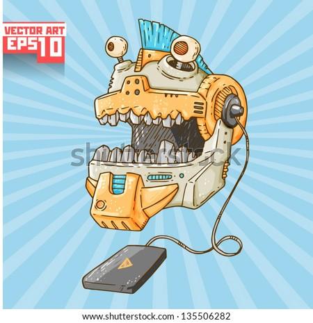 screaming robot head - stock vector