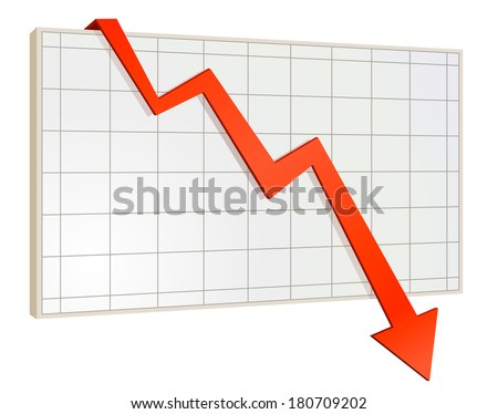 screen arrow graph down - stock vector