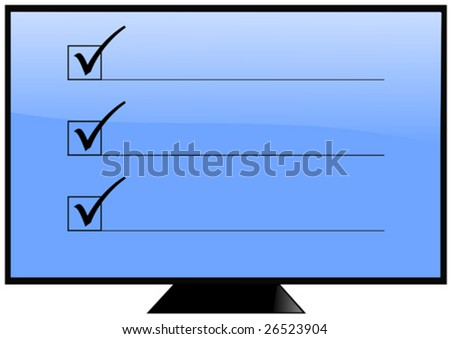 Screen with check boxes and lines - stock vector