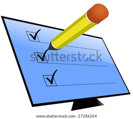 Screen with check marks and pencil - stock vector
