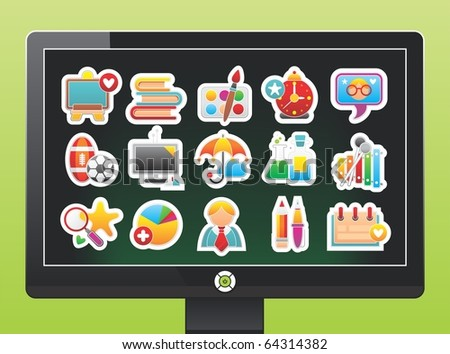screen with school icons - stock vector