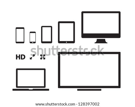 Screens on white background. Vector illustration. - stock vector