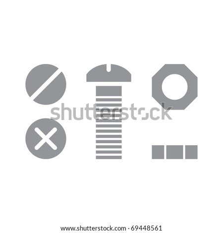 Screw Bolt and Nut iron steel tool repair - stock vector