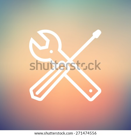 Screw driver and wrench tools icon thin line for web and mobile, modern minimalistic flat design. Vector white icon on gradient mesh background. - stock vector