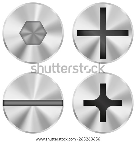 Screw heads - vector illustration isolated on white background