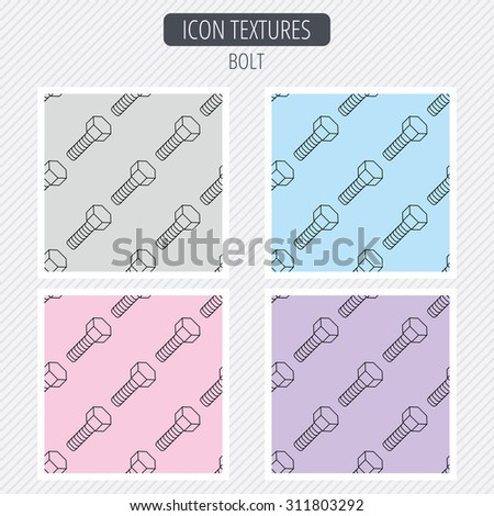 Screw icon. Bolt sign. Diagonal lines texture. Seamless patterns set. Vector - stock vector