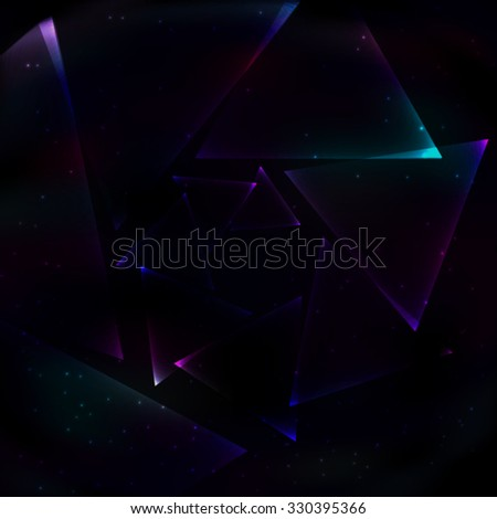 Screw soap transparent glowing blue and violet triangles that are screwed into the spiral space on retro background. - stock vector