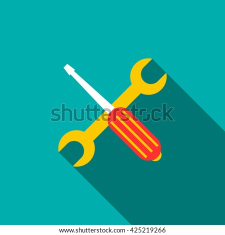 Screwdriver and wrench icon. Screwdriver and wrench icon art. Screwdriver and wrench icon web. Screwdriver and wrench icon new. Screwdriver and wrench icon www. Screwdriver and wrench icon app - stock vector