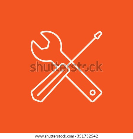 Screwdriver and wrench tools line icon for web, mobile and infographics. Vector white icon isolated on red background. - stock vector