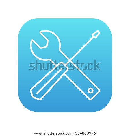 Screwdriver and wrench tools line icon for web, mobile and infographics. Vector white icon on the blue gradient square with rounded corners isolated on white background. - stock vector